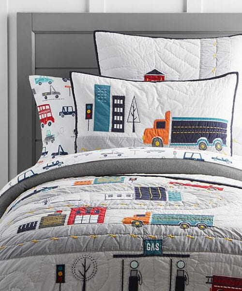 Boys Quilted Bedding | Boys Construction Bedding