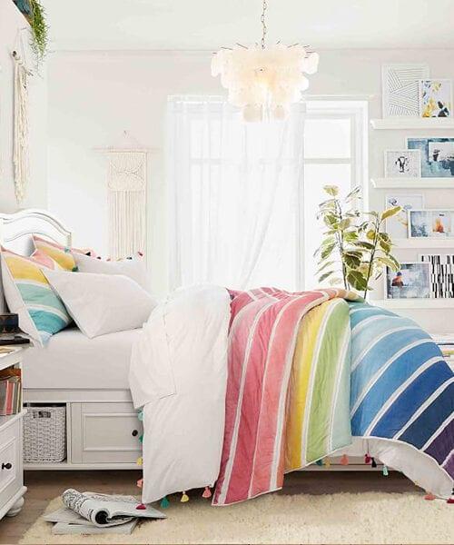Rainbow Chevron Teen Girl Bedding