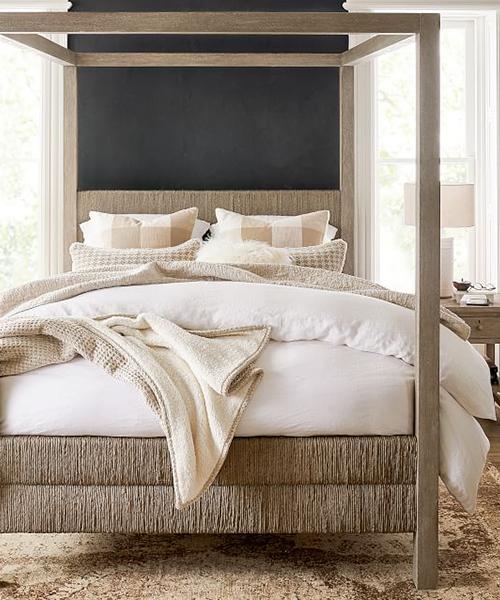 Farmhouse Woven Canopy Bed