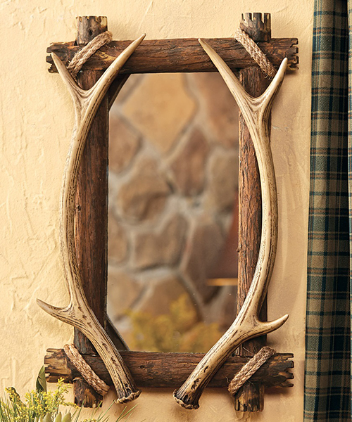 Antler Wood Mirror   Cabin Decor