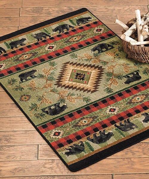 Rustic Bear Rug | Log Cabin Rugs