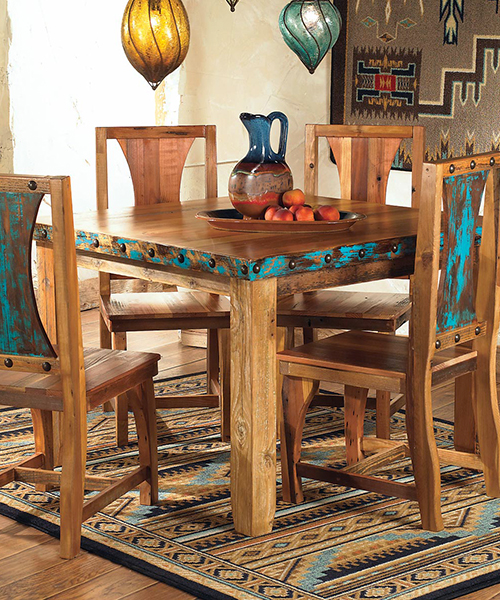 Barnwood Dining Room Furniture, Western Dining Room Chairs