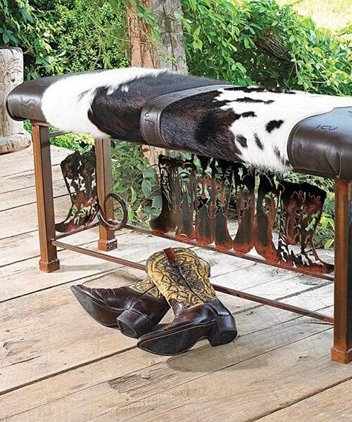 Western Cowhide Bench