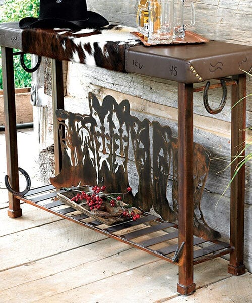 Cowhide Western Accent Table