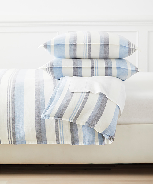 Seabright Blue and Gray Coastal Stripe Duvet Cover