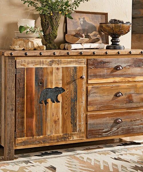 Carved Bear Rustic Barnwood Cabinet