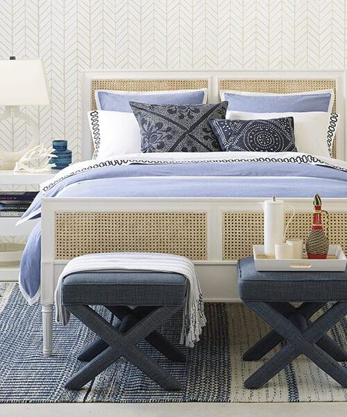 Wainscott Coastal Blue Bedding | Blue and White Coastal Duvet Cover