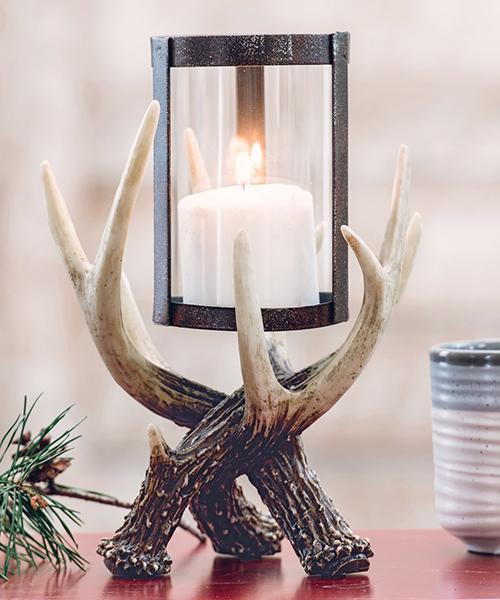 Antler Hurricane Candle Holder | Rustic Lighting
