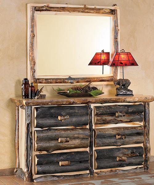 Aspen Rustic Log Dresser With Mirror