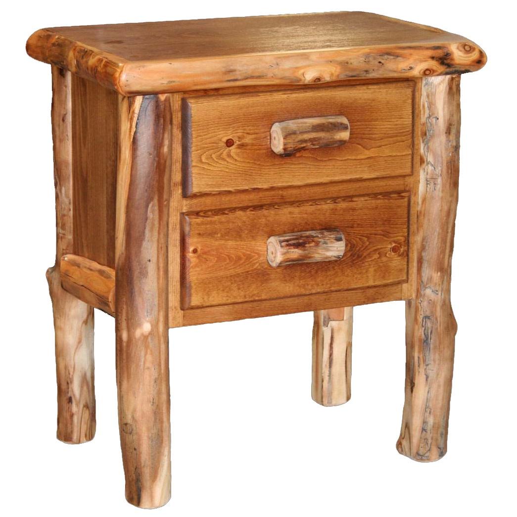 Aspen 2 Drawer Log Nightstand