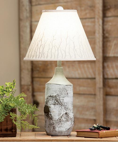 Rustic Birch Table Lamp