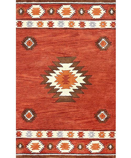 Red Southwestern Wool Area Rug