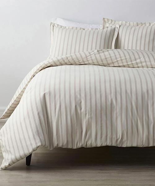 Narrow Stripe Duvet Cover in Rose