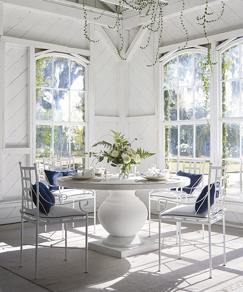 Coastal Wrought Iron Dining Chairs