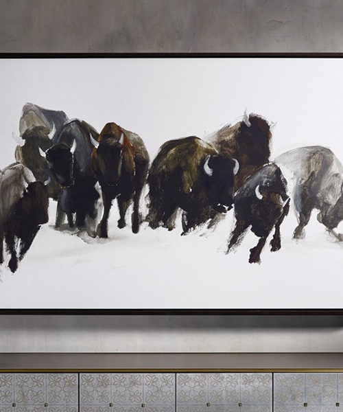 Gathering Framed Buffalo Print