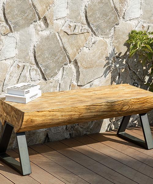 Outdoor Log Garden Bench